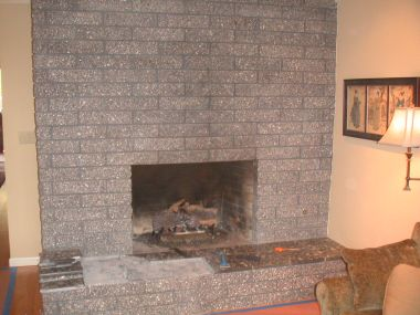 Overwhelming Brick Fireplace Before