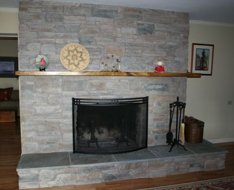 Fireplace Remodel with Manufactured Stone
