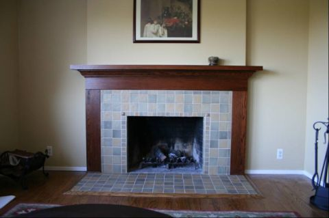 Fireplace Refaced with Craftsman-like Tile