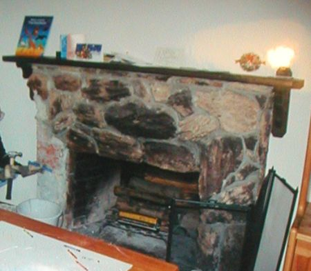 Fireplace Remodel - Before, Lava Rock