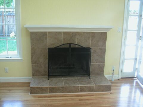 Brick Fireplace Faced with Italian Tile