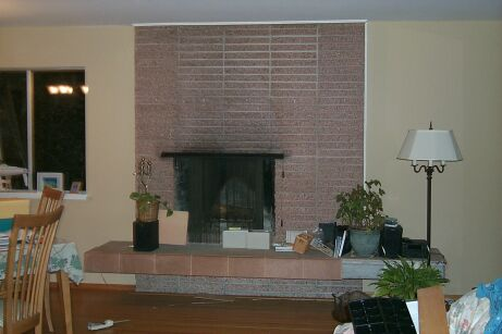 Ugly Pink Fireplace Before