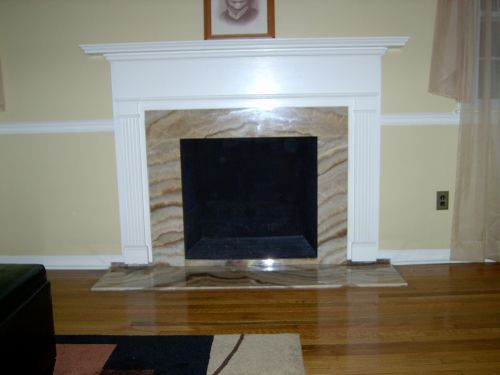 Fireplace refaced with Onyx Stone